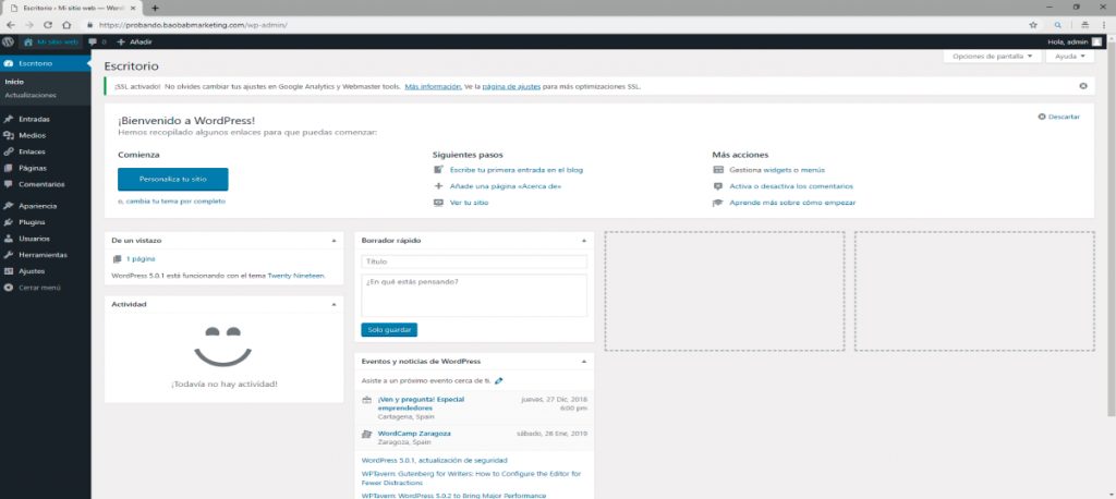 backoffice de wordpress